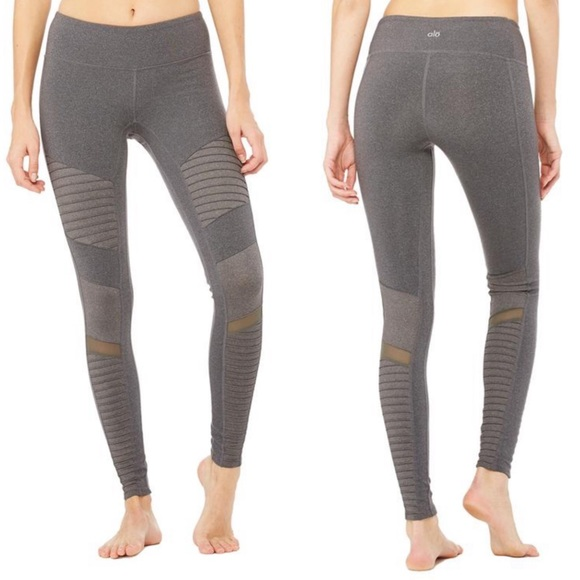ALO Yoga Pants - Alo Moto Legging - Stormy/Heather Grey EUC